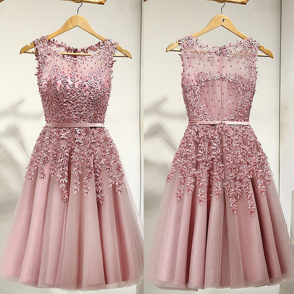Pearl Pink Real Photos A-Line Scoop Illusion Lace Appliques Pearls Satin Sashes Prom Dress Cocktail Dresses Knee-Length Party Dress