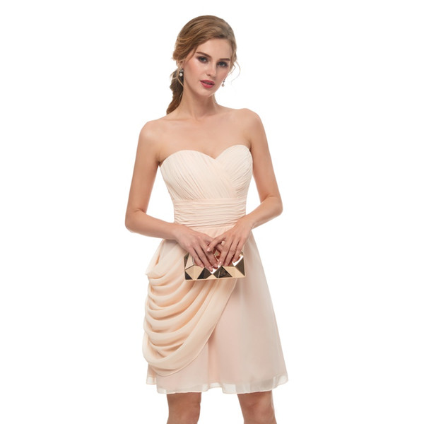 2019 Real photos Champagne Short Bridesmaid Dresses sweetheart Sleeveless Pretty Formal Dress for Maid Of Honor chiffon Wedding Party Dress