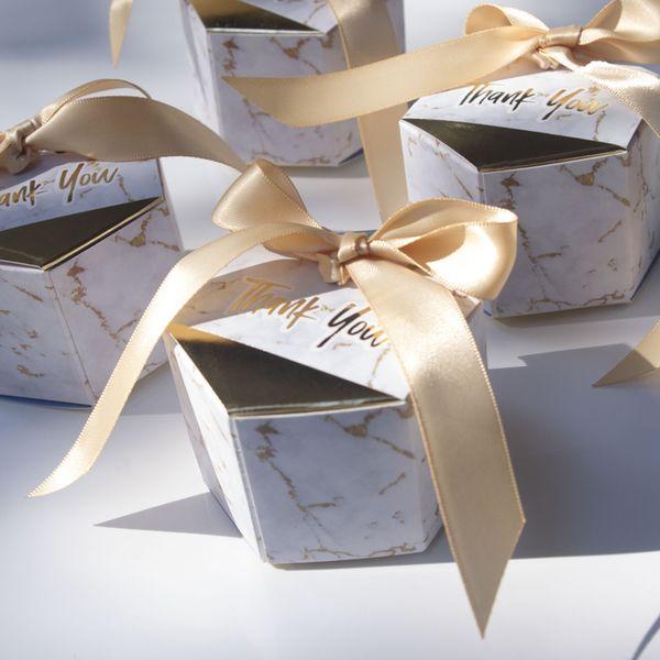 50pcs nuove caramelle di stile di marmorizzazione creativi favori di nozze rifornimenti del partito Baby Shower grazie contenitore di regalo
