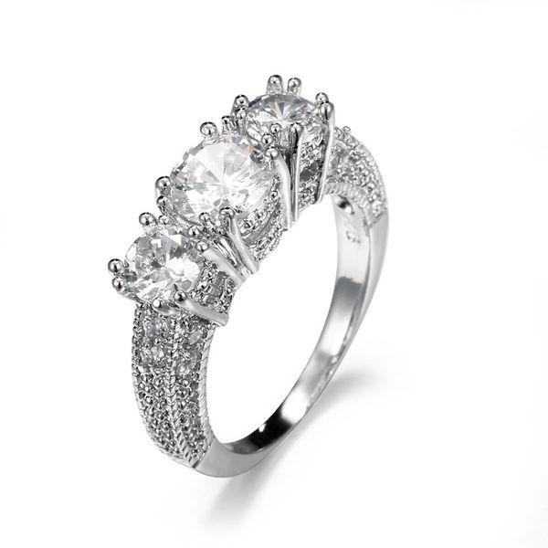 Anillo de plata con piedra blanca Joyería de diamante de circonio cúbico para mujeres Bijoux de compromiso Accesorios de boda para el corazón