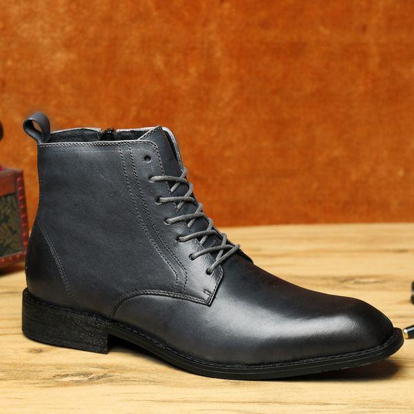 Compre Zapatos De Vestir De Cuero Genuino Para Hombre Presidente Zapatos Con Cordones Formal Zipper Casual Botines Altos Derby Botas De Negocios De