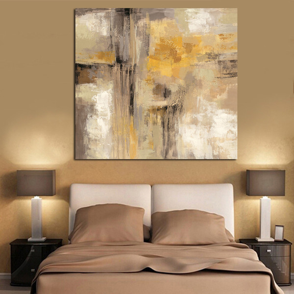 1 Piece HD Print Yellow Gray Abstract Oil painting on Canvas Professional Art Poster Wall Picture for Living Room No Framed