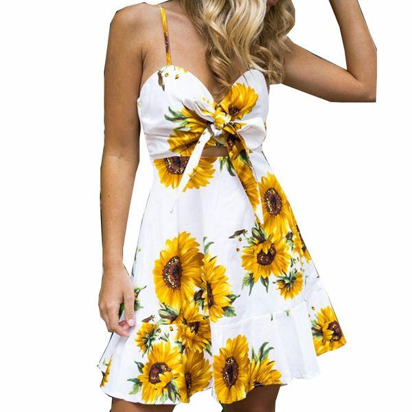 Boho Printed Floral Sundress Bowknot V Neck Sexy Spaghetti Strap Summer Dresses Sleeveless Boho Beach Printed Mini Dress GV358