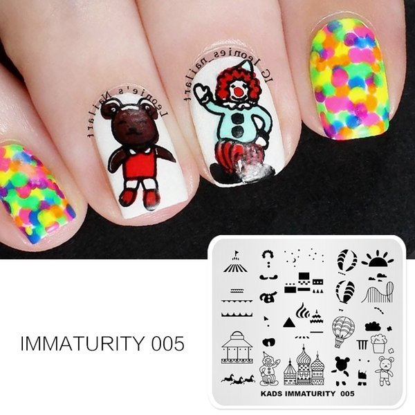 Nail Art Templates 1pc Animals &Building Cartoon Lovely Pattern Design Hot Stamping Nail Art Stamps For Nails Stamping Template
