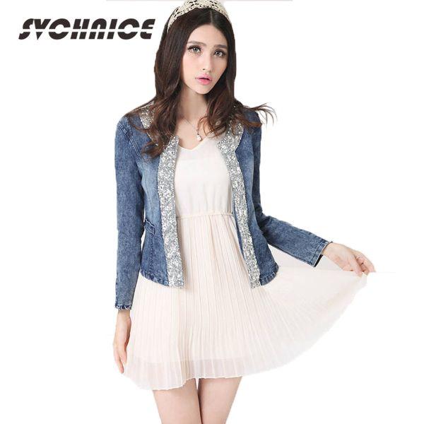 Fashion Ladies Blue Bomber Jeans Jacket Women Short Denim Jacket Slim Zipper Coat Diamonds Jackets Spring Jaqueta