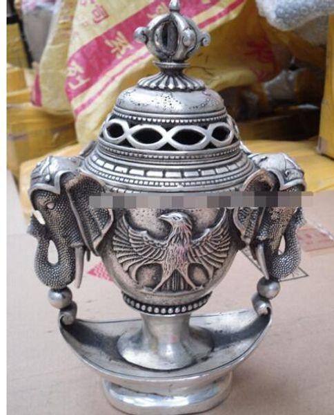Buddhist bronze coated silver tibetan all phoenix elephant statue censer burner