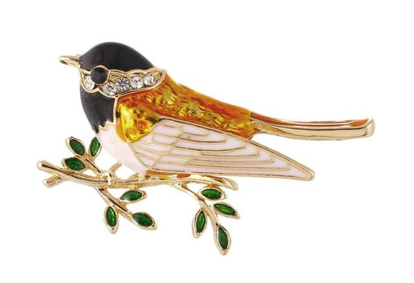 2018 United States Cute girl diamond bird Brooch brooches rhinestone Clothing accessories Pins Party Prom Women pin Free shipping 49
