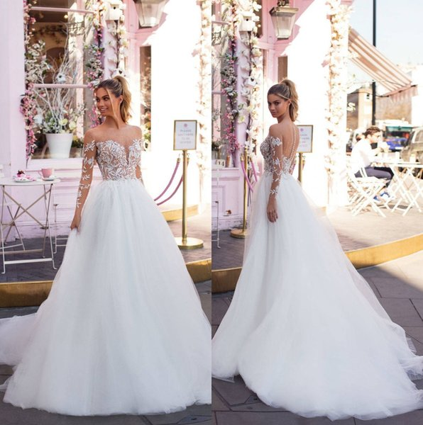 2019 Milla Nova Illusion Long Sleeves Tulle A Line Wedding Dresses Lace Applique Beaded Sweep Train Wedding Bridal Gowns