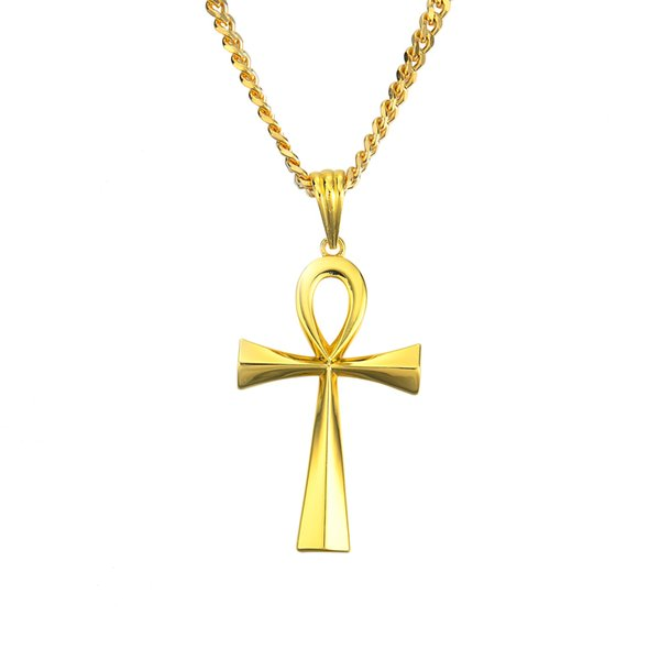 5mm 30inch stainless steel cuban chain Ankh Necklace & Pendant Key For Men and Women Hot Jewelry Egyptian Cross N766