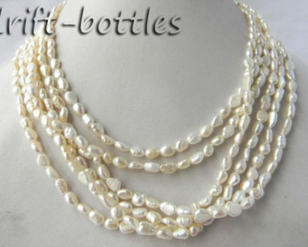 6Strands 18'' White Baroque Rice Freshwater Pearl Necklace