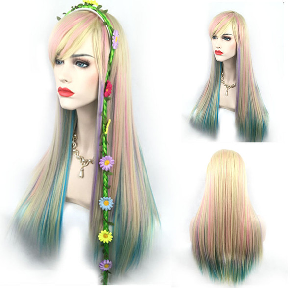 Attractive Colorful Pink Ombre Green Yellow Rainbow Color Hair Wig Mermaid Cosplay Custome Wigs Unicorn Colour None Lace/ Lace Front Wig