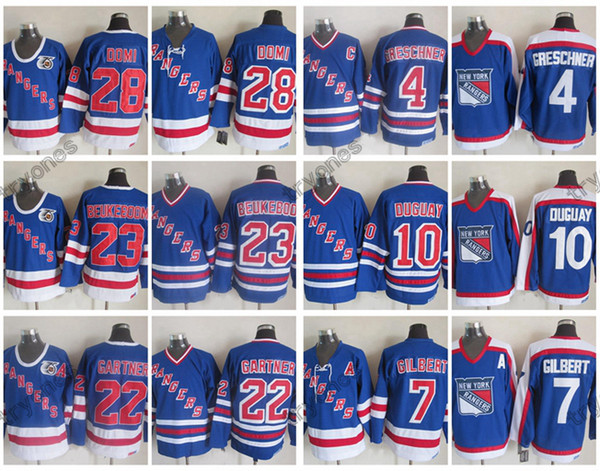 Maillots de hockey vintage des Rangers de New York 4 Ron Greschner 7 Rod Gilbert 10 Ron Duguay 23 Jeff Beukeboom 22 Mike Gartner 28 Cravate Domi 75e chemise