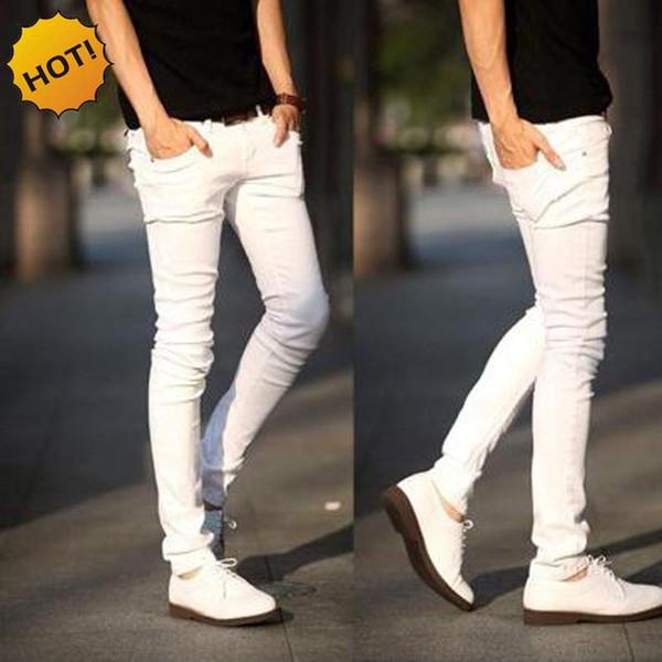 New 2018 Teenagers Men Casual Slim Fit Designer Classic Denim White Color Student Jeans Micro Elastic Pencil Pants 28-34