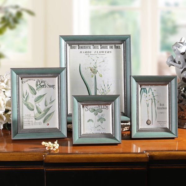 Retro Blue Desktop Photo Frame 4''6''7''10' Wooden Picture Frame On Table Family Gift Wedding Photos Holder Home Decor moldura