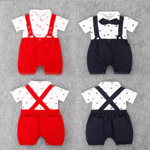 Bebê recém-nascido menino terno macacão macacão + calças suspensórios calções 2 pcs conjunto roupa bebê crianças meninos roupas com gravata borboleta verão terno vermelho preto