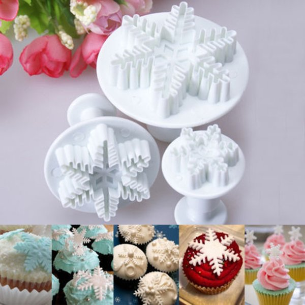 2016 Top Fashion Sale Mold Bakeware Pastry Tools 3x Snowflake Snow Cake Fondant Pastry Cutter Plunger Mold Tools Decor K1403