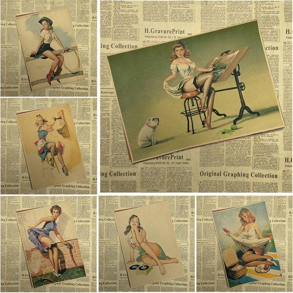 PINUP MÄDCHEN NO.3 Weltkrieg Vintage Kraftpapier Klassische Poster Bar Cafe Wohnzimmer esszimmer Wand Dekorative Gemälde