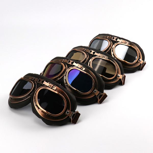 Casco Steampunk Glasses motocicleta Ciclismo Flying Goggles Piloto Vintage Biker Eyewear Goggles Gafas de protección del engranaje