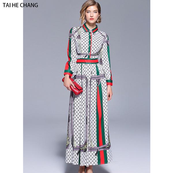 Mulheres designer de outono elegante vestidos slim bodycon party vintage runway ocasional impressão de trabalho do escritório camisa de manga longa maxi dress