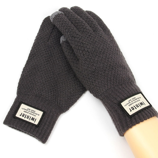 Autumn Winter Men Knitted Gloves Touch Screen High Quality Male Thicken Warm Wool Cashmere Solid Gloves Men Mitten Business