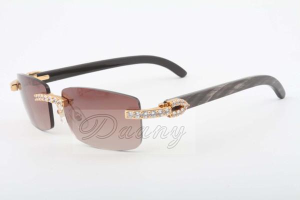 19 Jahre New Natur Fringe Striped Horned Spiegel-Objektiv-Sonnenbrille, 3.524.012 (2) Luxus-gelber Diamant-Sonnenbrille Größe: 56-18-140mm Sonnenbrillen