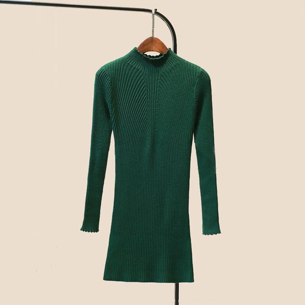 2018 winter half turtleneck sweater dress a slim long bag hip skirt long sleeved turtleneck backing bag body knit dress