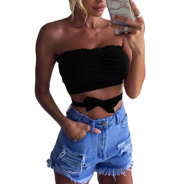 9016bd16 New Summer Fashion Strapless Tube Top 2018 Women bandage Solid Crop Top  Striped Women Clothing Pleated Crop