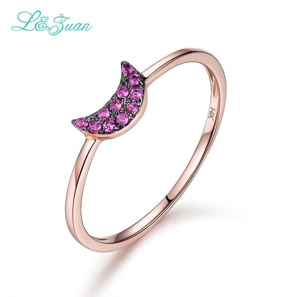 Anelli in oro rosa 14 carati per le donne Monili di rubino naturale gioielli in pietra rossa Fine Jewelry realizzati in argento sterling 925 0011
