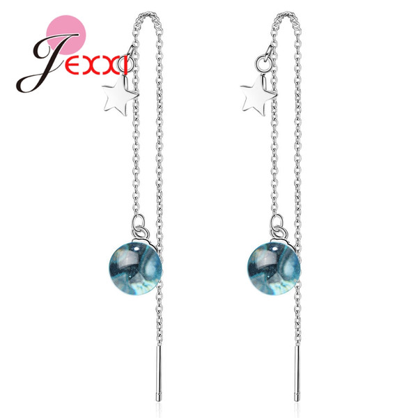 JEXXI Long Thread Blue Ball Stones with Stars Design 925 Drop Earrings For Women Wedding Banquet Sterling-Silver Accessories
