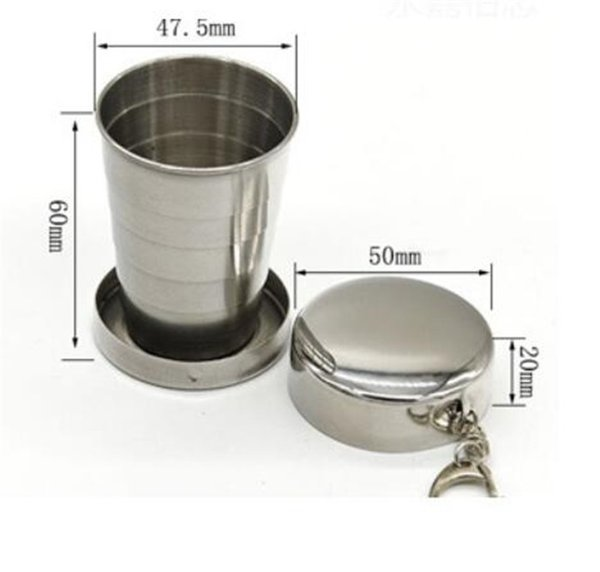 50pcs 75ml Telescopic Cup Portable Stainless Steel Folding Drinking Wine Cup Mug for Outdoor Travel Picnic Key Chain Collapsible G205