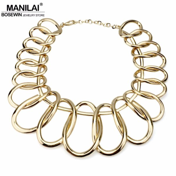 heap Choker Necklaces MANILAI Punk Alloy Big Chokers Necklaces For Women 2018 Fashion Jewelry Exaggerated Circle Metal Bib Chunky Necklac...