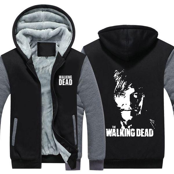 The Walking Dead Daryl Dixon Winter Hoodie Zipper Jacket Leisure Sweatshirts Thicken Cardigan Coat Long Sleeve Tracksuit Pullovers Tops