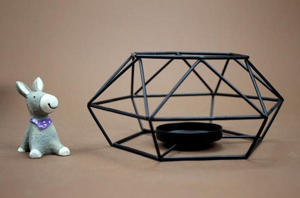 Geometrische Kerzenhalter Nordischen Stil Schwarz Metall Kerzenhalter Kleine Teelicht Hause Ornamente Hochzeit Tischdekoration