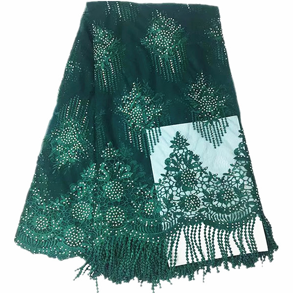 2018 green embroidered tulle lace trim glitter sequin lace tassel fabric mesh french cord lace fabric high quality 5yard/lot