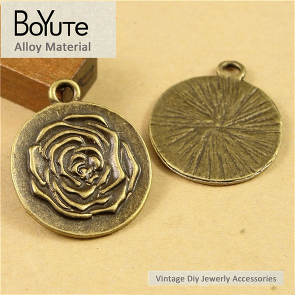 BoYuTe (60 Pieces/Lot) 22MM Wholesale Vintage Antique Bronze Plated Zinc Alloy Rose Plated Pendant Charms for Jewelry Making Accessories Diy