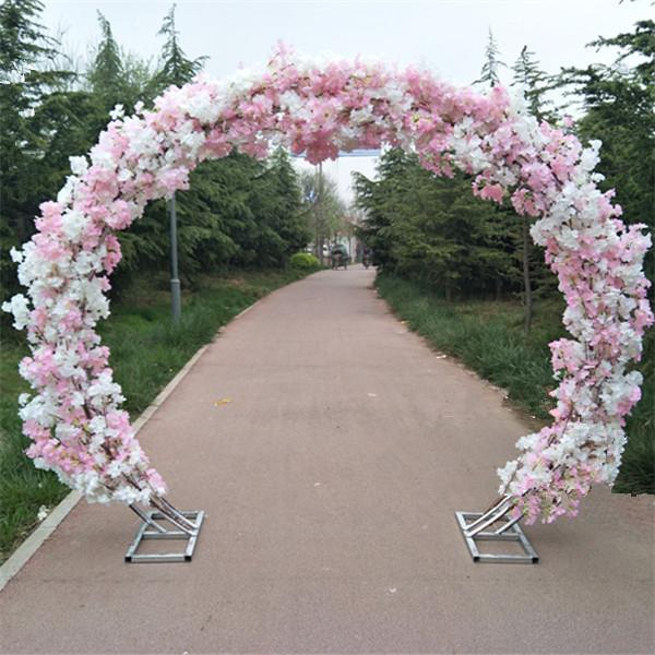 Wedding Silk Flowers Wall Cherry Blossom Iron Round Stand Lucky Door DIY Wedding Party Decor Artificial Flower Cherry Blossom Arch Shelf