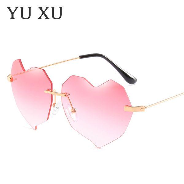 Yu Xu 2018 Novo Designer De Luxo Óculos De Sol Das Mulheres Amor Do Coração  Sem 5b818711b8