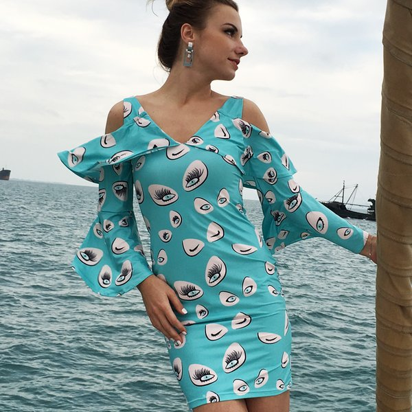 Women Dress Sexy 2019 Summer New Beach Vocation V Neck Print Long Sleeve Natural Waist Blue Petal Sleeve Dresses