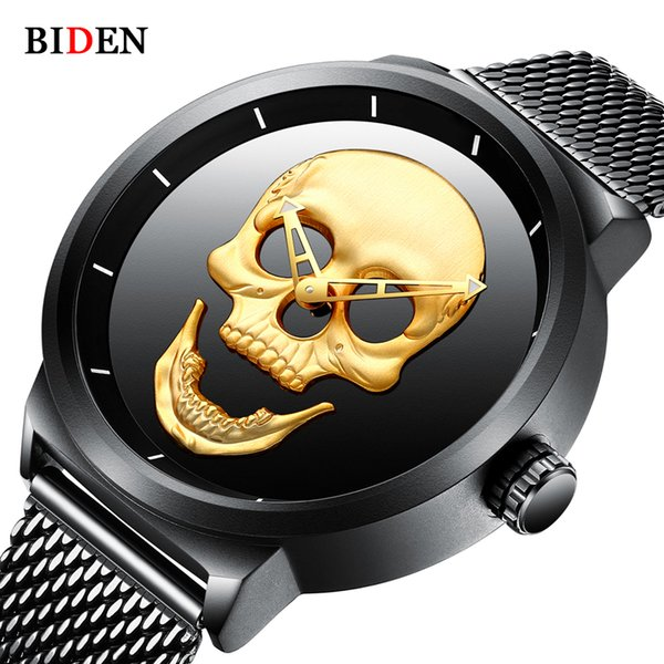2018 Cool Punk 3D Skull Men Watch Brand BIDEN Luxury Steel Gold Black Vintage Quartz Male Watches Sport Clock Relogio Masculino