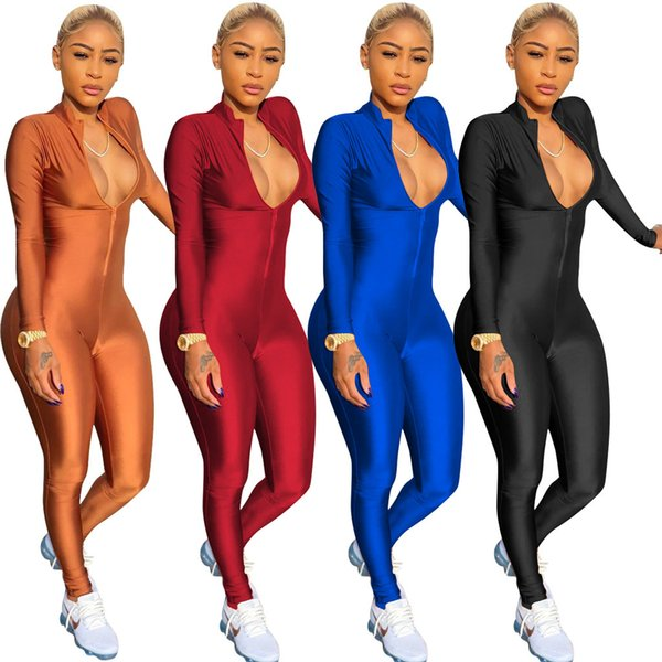 Women long sleeve Jumpsuit Rompers Capris stand collar Sexy Overalls Bodysuit Designer women fall clothes night club skinny jumpsuit hot