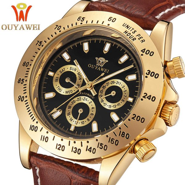 watches for 2017 NEWEST OUYAWEI Gold mechanical watch Top Brand Luxury army wrist watches for men 22mm leather skeleton reloj hombre