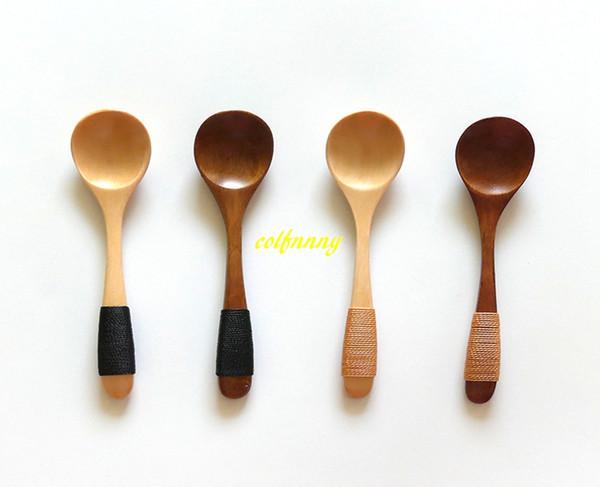 10pcs / ot di alta qualità 13 * 2.8cm cucchiaio di legno gelato caffè tè zuppa di legno cucchiai di miele maniglia con filo di corda