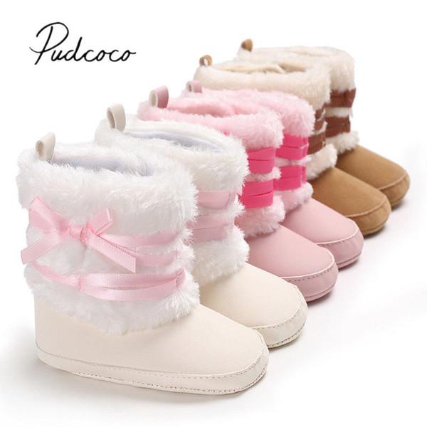 Booties Bow Snow First Newborn Walkers 2018 Boy Toddler Shoes Boots Prewalker Brand New Warm Baby Girls Furry Winter 0-18M Crib
