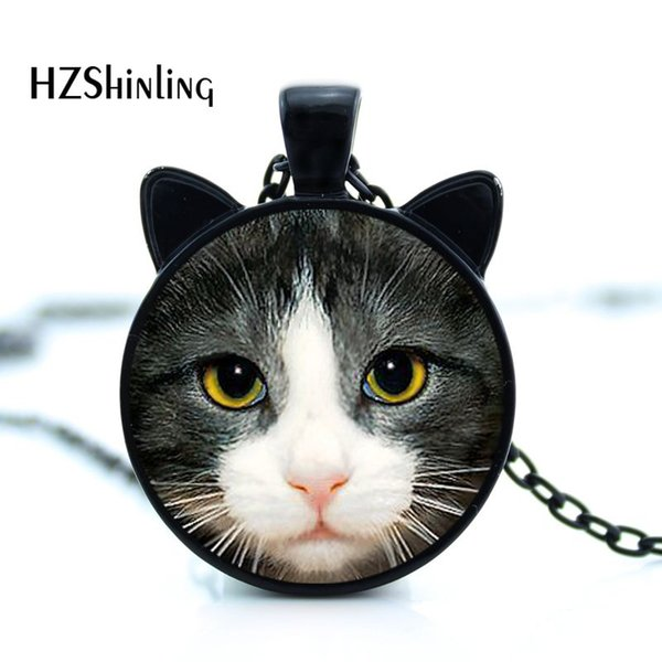 CN-00795 Yeni Siyah Kedi Kolye Sevimli Kedi Yüz Kolye Kedi Kulak Takı Cam Fotoğraf Kolye Kolye