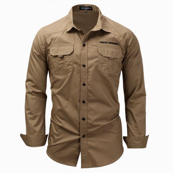 top popular Wholesale 2018 Mens Designer Clothing Alphabet Embroidery Mens 3XL T- shirts Mens Double Pocket Decorative Anti Pilling Shirt 2019