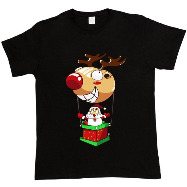 T Shirts Funny Short Sleeve Men Top Santa Flying In Red Nose Reindeer Hot Air Balloon Christmas Xmas O-Neck T Shirt
