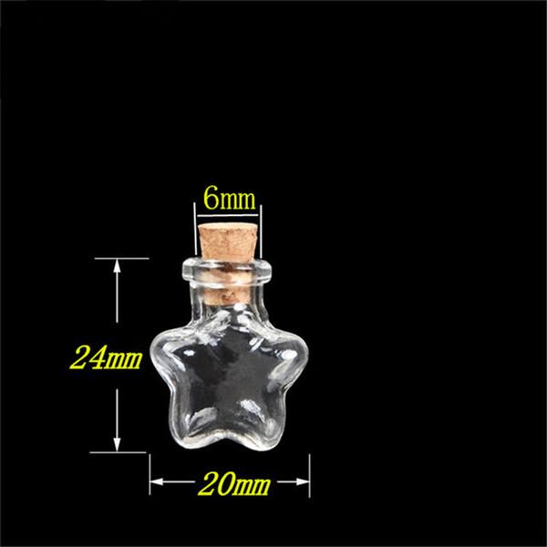100 pcs 20x24x6 mm Small Glass Bottles With Corks DIY Mini Stars Shaped Art Jars Gifts Vials Lovely Little Pendants Bottles