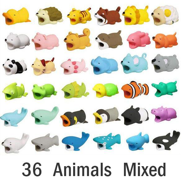 top popular Hot 36styles Cable Bite animal bite cable Protector Accessory toys cable bites Mantee Whale Dolphin Shark for iPhone smartphone Charger Cord 2021