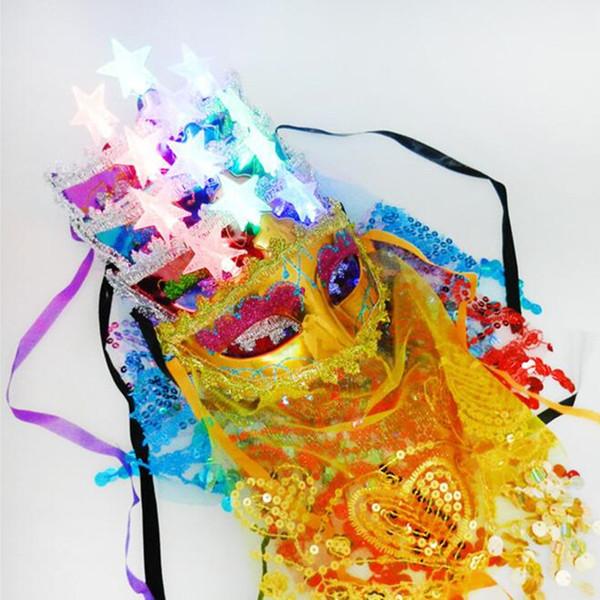 20pcs/lot Sexy Women Masquerade Lighting Flashing Star Mask Veil Venice Princess Masks For Adults Dance Party New Year Supplies