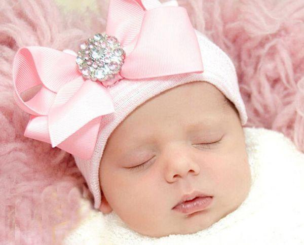 Детские Hat Новорожденных Шапочки Бантом Новорожденных Девочек Хлопок Вязать Шапочки Младенческой Полосатые Шапочки Малыша День Рождения Шляпу Партийные Шляпы Красивые Шапочки